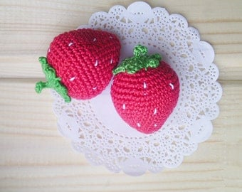 2 Pcs - Crochet strawberries ,teether teeth, play food, kitchen decoration, eco-friendly toys,red.