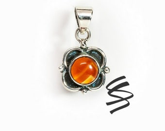 Carnelian Red Vintage Flower Gemstone Necklace Birthstone Pendant Red Stone July Silver Sterling Silver Orange Natural Boho Gift For Her Gem