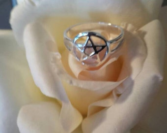 Ring silver pentacle-witch-wicca-pagan wiccan jewelry-jewelry-protection
