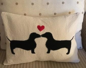 Kissing Dachshunds Pillow