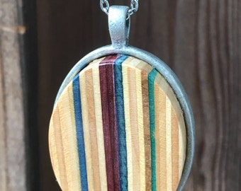 Recycled Skateboard Pendant Necklace