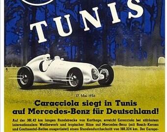 Vintage 1936 Mercedes Benz Tunis Motor Racing Poster A3 Print