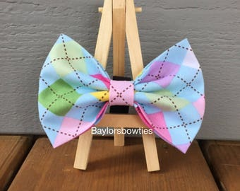Spring Argyle Dog Bow Tie