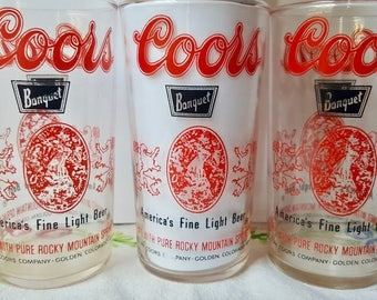 Vintage Coors brand Beer  Drinking Glasses, Bar ware, Set of 3 Coors Glassware, Coors Beer Bar Glasses