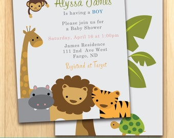 Jungle Baby Boy Shower Invitation - PRINT ON OWN