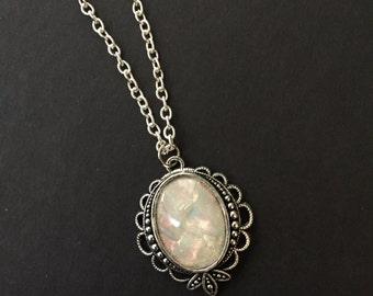 White Opal Pendant, 18x13mm Opal Necklace, White Opal Necklace, Small Opal Necklace