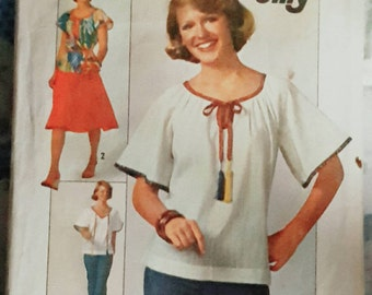1977 Simplicity 7964 Misses Peasant Top Size 16 CUT Complete Sewing Pattern ReTrO GrOOvy!