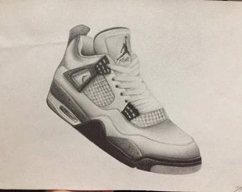 Nike Air Jordan 4 sneaker drawing (print)