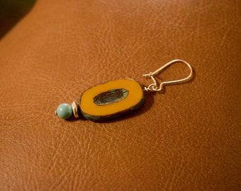 Goldenrod Oval Czech Glass Earrings with Turquoise Swarovski Pearl Accent
