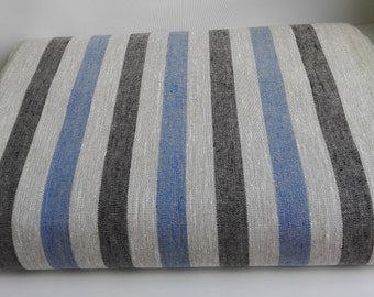 Striped Linen Fabric by the Yard, Blue Striped Linen Fabric, Black Striped Fabric for Towels, Linen Fabric, Rustic Fabric