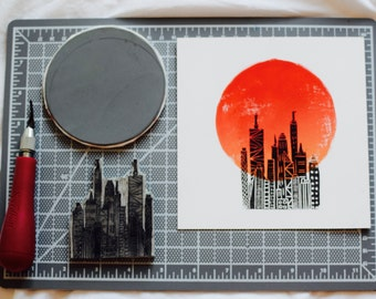 Hand Printed City Sunrise