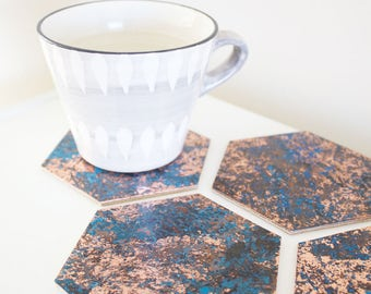 Hexagonal Patinated Copper Coaster Set