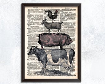 Stacked Farm Animals Dictionary Print - Vintage Farmhouse Wall Decor - Farmhouse Art - Country Home Kitchen Decor - Stack Farm Animals Art