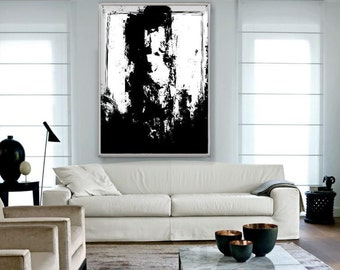 Large Handmade Vertical Abstract Acrylic Painting on Canvas. Hand Painted Modern Contemporary Art. Black and White Painting.