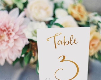 Wedding Table Numbers - Gold Foil Table Numbers - Gold Table Cards - Elegant Decor - Wedding Stationery - Table Name -