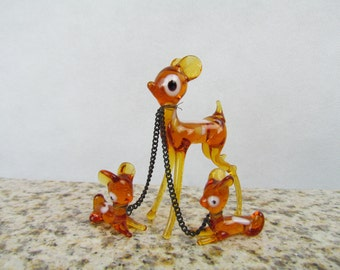 Vintage Glass Deer Family, SET of 3 Blown Glass Deers,  Kitsch Deer, Glass Deer Figurine, Spotted Deer, Doe Figurine, Glass Doe Figurine