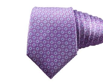 Lilac Purple Floral Silk Slim Modern Tie