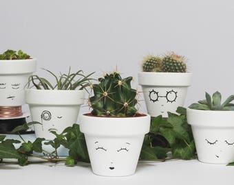 Home Decor - Five Hand Painted Succulent Planters - Monochrome Mini Face Planter - House Plant - Plant Pot Wedding Favours - Indoor Planter