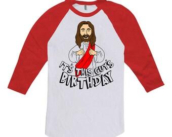 Funny Christmas Raglan It's This Guy's Birthday Jesus T Shirt Holiday Clothing Religious Gifts For Him Xmas Present X-Mas Raglan Tee TGW-640
