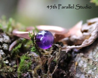 Amethyst Copper Ring, February Birthstone, Purple Ring, Copper Wire Ring, Gemstone Ring, February Birthstone Jewelry