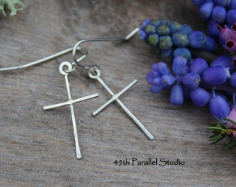 Sterling Silver Cross Earrings, Handcrafted Silver Cross Earrings, Dainty Silver Earrings, Christian Jewelry