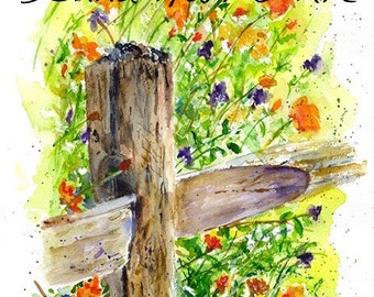 FENCE POST Wild Flowers Watercolor Limited Edition Print by Donna Harris