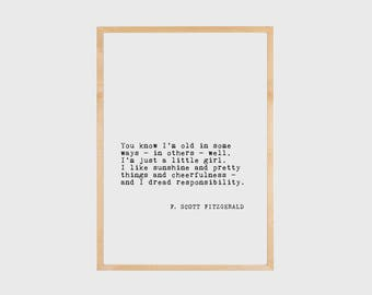 Scott Fitzgerald, Literary Quote, Literary Print, Book Art, Typography Print, Literary Poster, Wall Art, F Scott Fitzgerald, PRINTABLE
