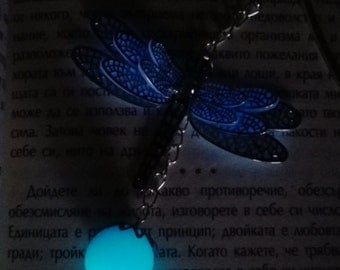 Glow In The Dark Bookmark. Dragonfly Bookmark. Blue Bookmark. Bookmark. Glowing Sphere. Silver Bookmark. Book Lovers Gift.