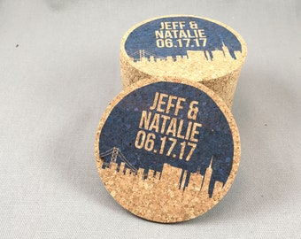 San Francisco Skyline Wedding Cork Coaster Favors Personalized with Names and Wedding Date // Wedding Reception Cork Coaster Favor