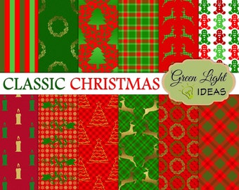 Christmas Digital Paper, Christmas Backgrounds, Holidays Digital Paper, Christmas Scrapbook Papers, Xmas Digital Paper, Christmas Papers CU