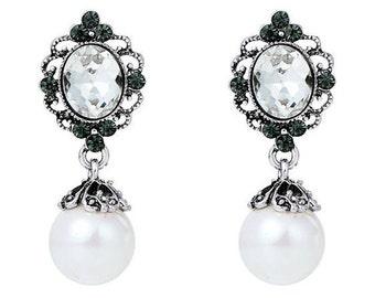 Vintage Style Antique Silver Pearl Drop Earrings EA6053j