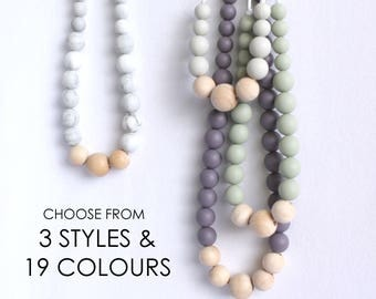Silicone Teething Necklace CHOOSE Color Natural Wood Block Neutral Babywearing Jewelry Tula Nursing Teether Chewing Bead New Mom Shower Gift