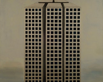 grey,silver,blue,urban,modern,skyline,sky,squares,triangle,architecture painting,building,art,oil painting,original art,painting,print,