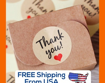 """Kraft paper """"Thank you!"""" Stickers, with Red Heart, round seal"""