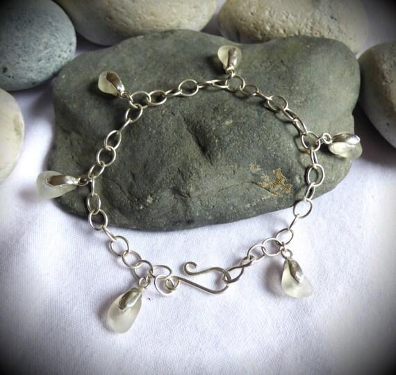 Seaglass Charm Bracelet, Sea Glass Silver Jewelry, Wedding Jewellery, Bridal Wear, Dangle Charm, Bride Accessory, Beach Style - BJ17003