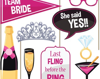 Bachelorette Party Photo Booth Props (Set of 22) - Girls Night Out Games - Wedding Shower Hen Party Photobooth Kit