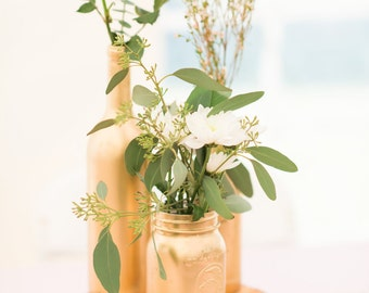 Mason Jar Centerpieces, Painted Mason Jars, Wedding Mason Jar Centerpieces