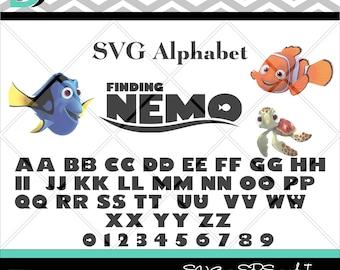 Finding Nemo svg, Disney Alphabet svg,Letters svg,Silhouette Studio,svg font,Cricut svg,Cut files,svg files for Cricut,