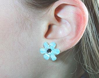 Stud Spring Flower Earrings with Rhinestones