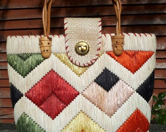 Large Woven Raffia Tote Bag with Wooden Handles