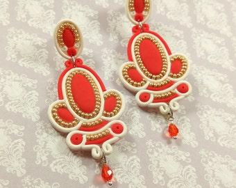 Red gift women jewelry gift idea Gold red white earrings Red wedding Royal earrings Big earrings large Bohemian earrings Fashion earrings