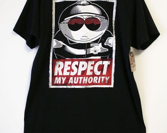 Vintage South Park Eric Cartman Respect My Authority Black T-shirt- Size Men's XL (Cotton)
