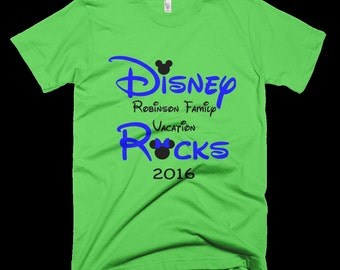 Disney Rocks Family Vacation T-shirt personalized with Family Name and Year, Tee, Shirt