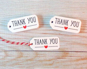 Very Small Thank You Tags for Wedding Favors Tiny Mini Thank You Favor Tags with Heart - Set of 40 with Red & White Bakers Twine Included