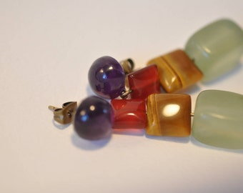 Gems, purple amethyst cabochon, square red agate, green square Tiger eye and jade Pearl Earrings