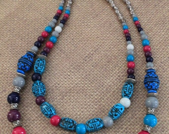Double Strand Beaded Jewelry Set / Multi-Color