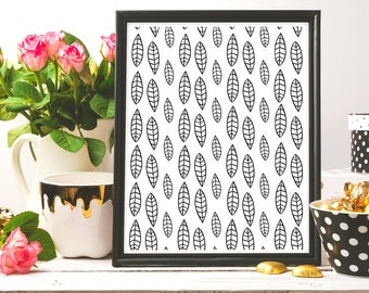 Leafs Pattern, Black And White,Digital art, Black Ink, Minimalist Print, Home Decor, Nursery Decor, Modern Art Print, Instant Download, Ink