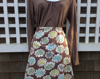 Vintage skirt, brown cotton skirt, Boden skirt, cotton lined skirt