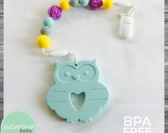 Large Owl Toddler Baby teether - BPA Free - Chew Toy - toddler toy - baby gift - toddler - twins - pacifier clip - personalized o