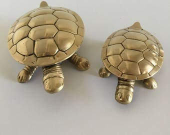 5 inch Vintage Brass Turtle- Trinket Box with Hinged Lid- Brass Turtle Jewelry Storage